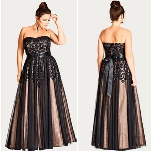 City Chic Embellished Tulle Strapless Ballgown L